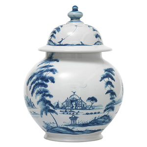 "Juliska Country Estate Delft Blue 10"" Lidded Ginger Jar Garden Follies"