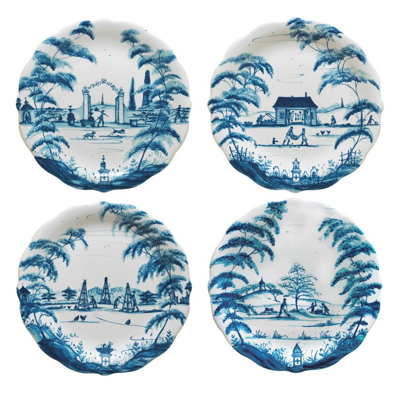 Juliska Country Estate Delft Blue Party Plates Set/4 Spring Gardening Scenes