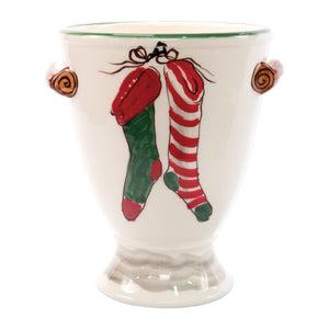 Vietri Old St. Nick Footed Urn with Chimney & Stockings