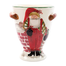 Load image into Gallery viewer, Vietri Old St. Nick Footed Urn with Chimney & Stockings