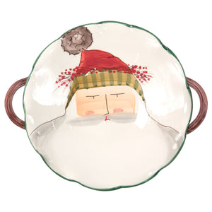 Vietri Old St. Nick Handled Scallop Bowl with Face