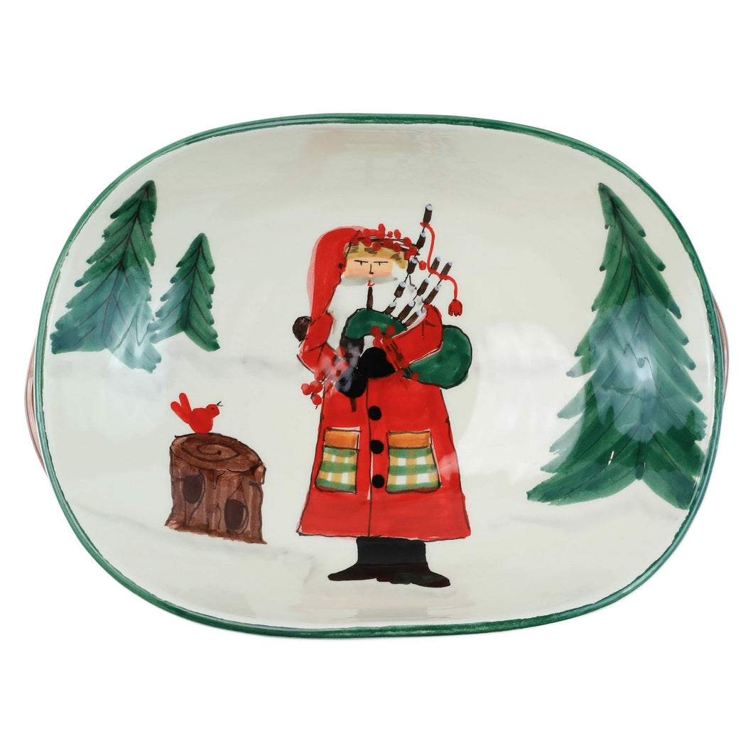 Vietri Old St. Nick Handled Shallow Bowl - Santa with Bagpipes