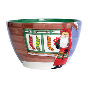 Vietri Old St. Nick Large Deep Bowl - Santa with Stockings