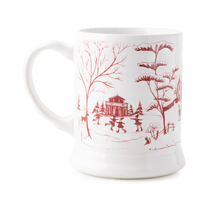 "Juliska Country Estate Winter Frolic Ruby ""Mr. & Mrs. Claus"" Mug"