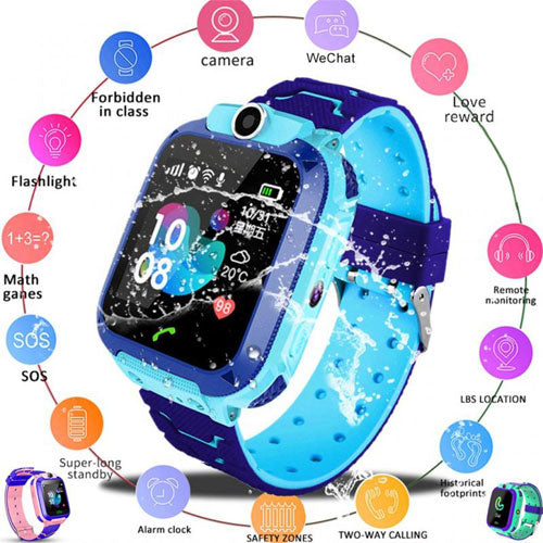 Unlocked 2G Universal Kids Smart Watch Phone with GPS Tracker, Combines Video, Voice and Calling, Messaging, Camera, IP67 Water Resistant & SOS