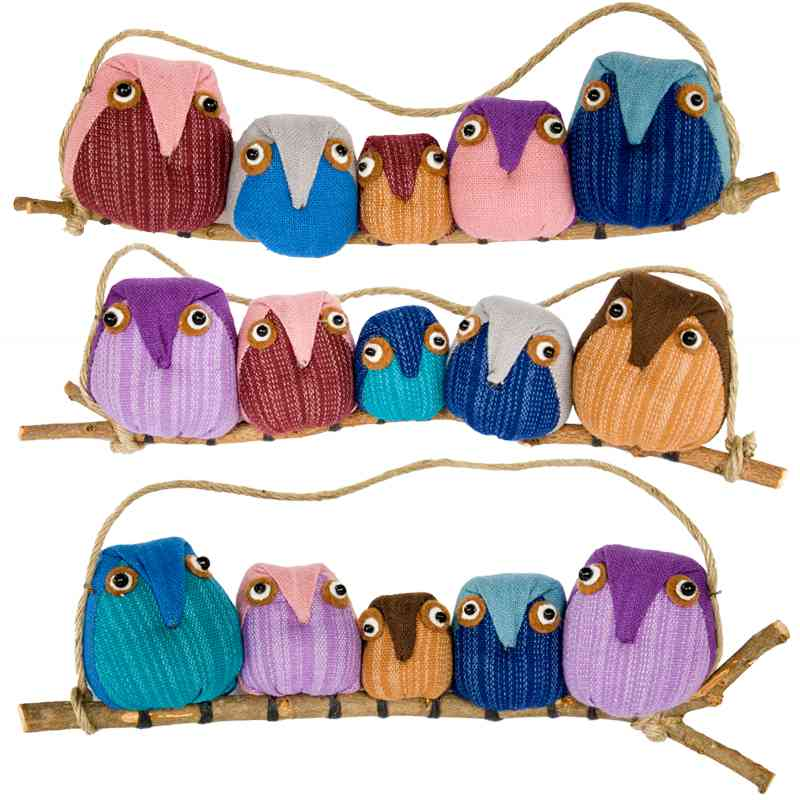 Family of Five Owl Ornaments - Contrasting Fabrics