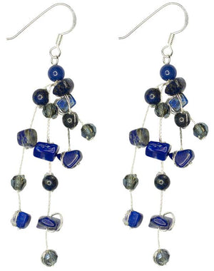 Load image into Gallery viewer, Sarah - Tumbled Stone and Silk Floating Earrings