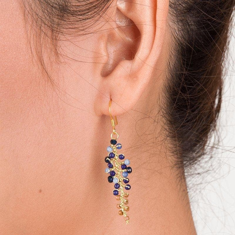 Annie - Glittery Leaf-Shaped Earrings - Marquet Fair Trade