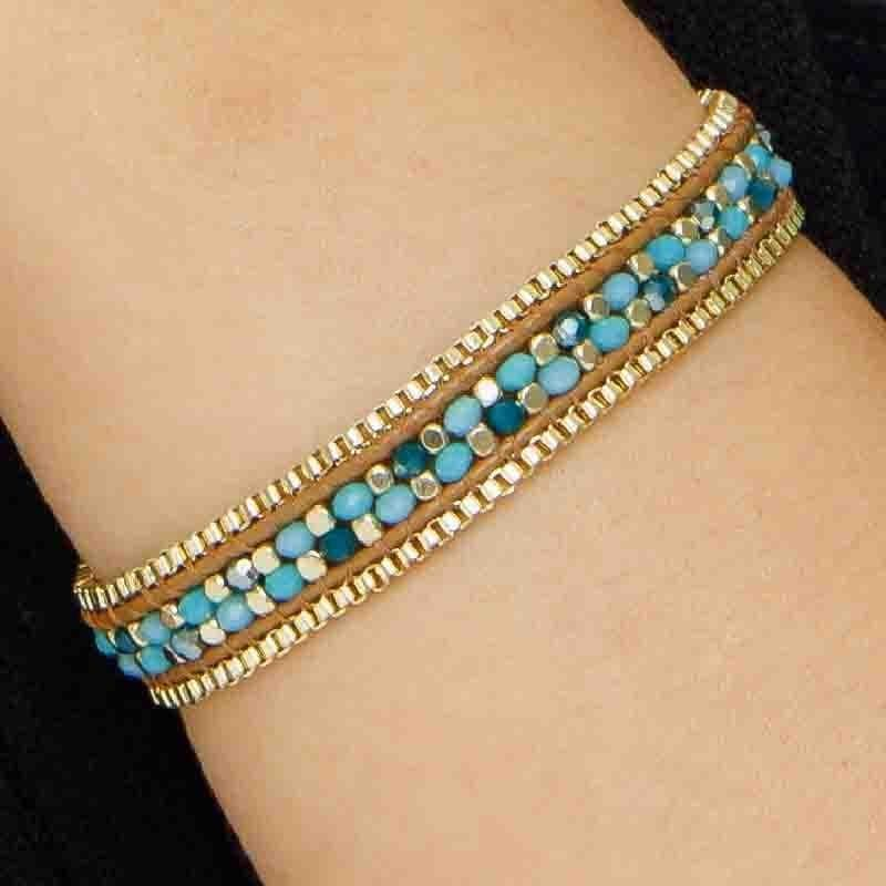 Bethany - Adjustable Beaded Bracelet with Box Chain - Marquet Fair Trade