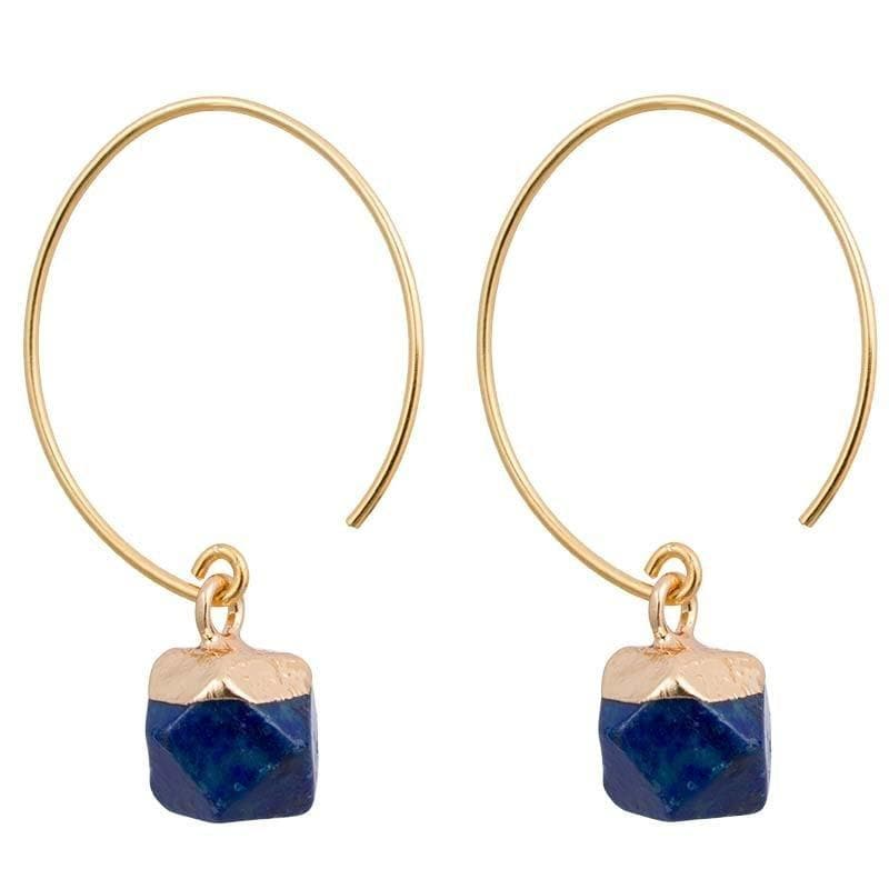 Clara - Chic Brass and Stone Earrings - Marquet Fair Trade
