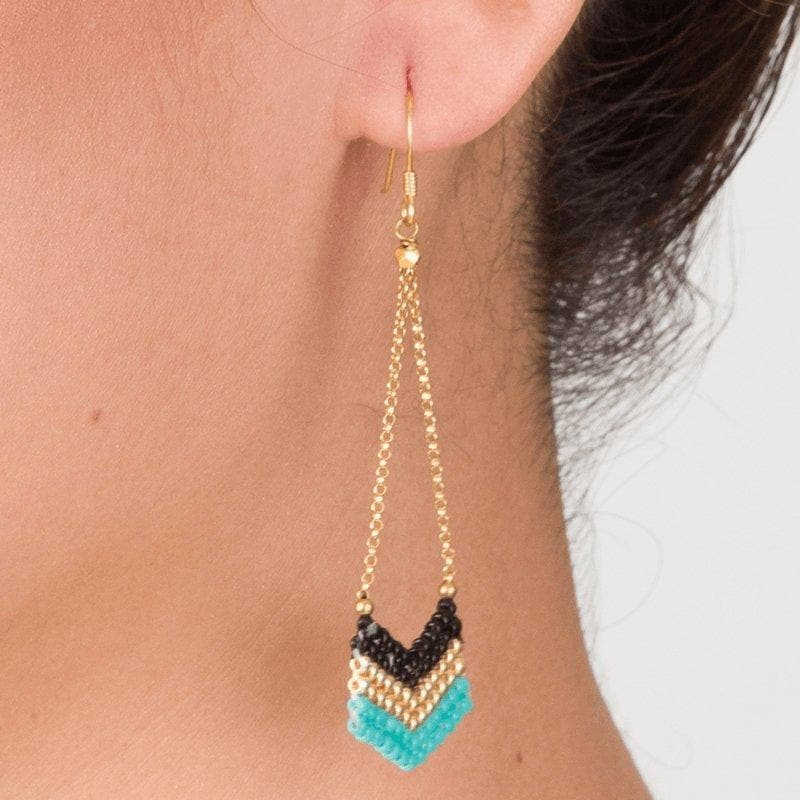 Eve - Handmade Beaded Chevron Earrings - Marquet Fair Trade
