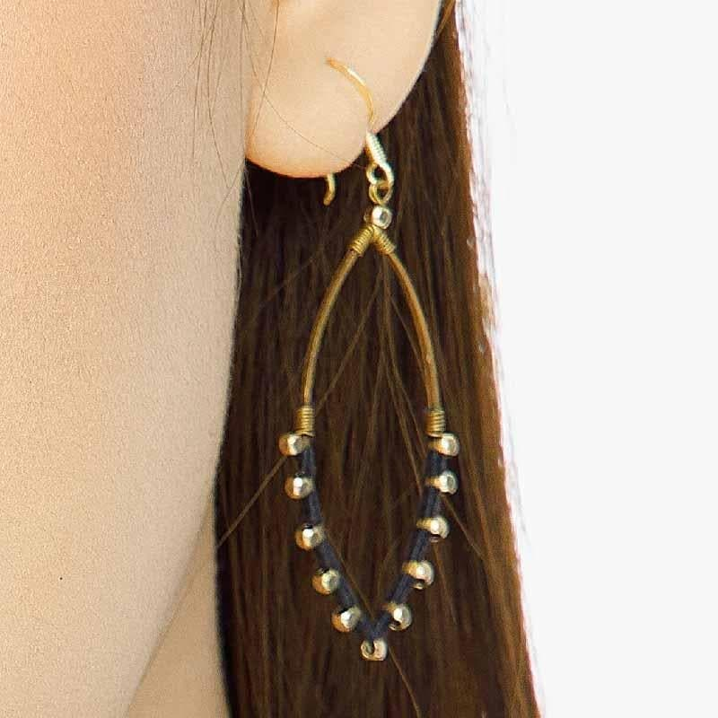Jane - Oval Earrings with a Splash of Color - Marquet Fair Trade