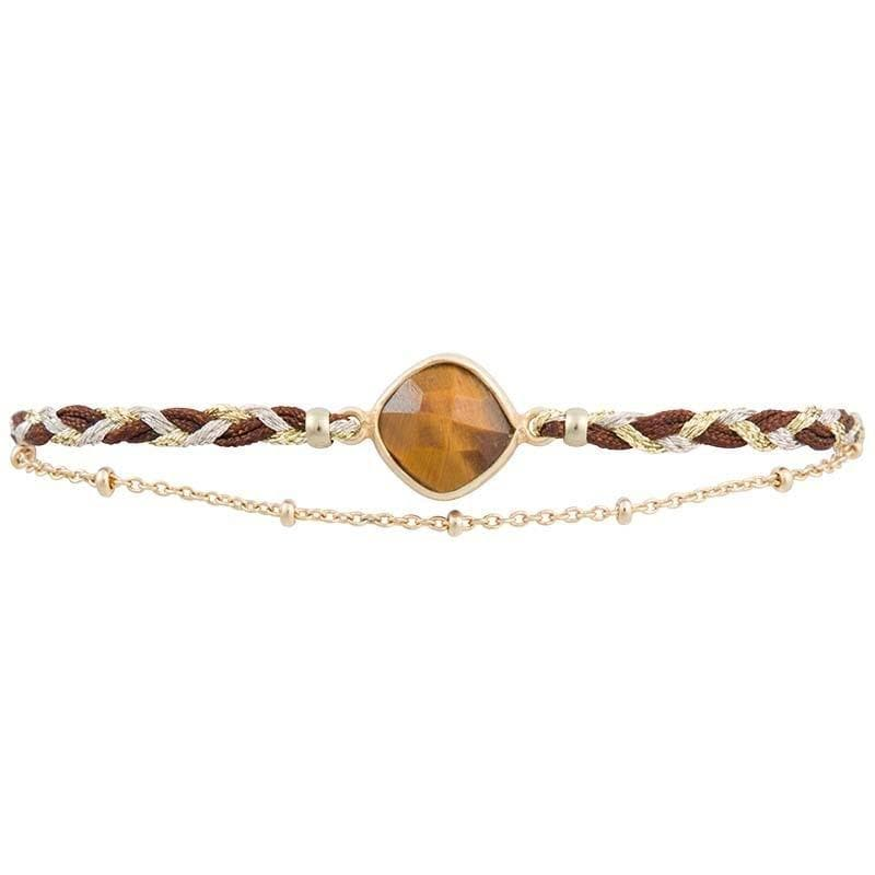 Kelly - Silk Braided Bracelet with Feature Stone - Marquet Fair Trade