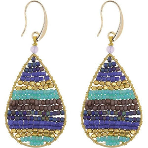 Load image into Gallery viewer, Lauren - Stone and Brass Beaded Teardrop Earrings - Marquet Fair Trade