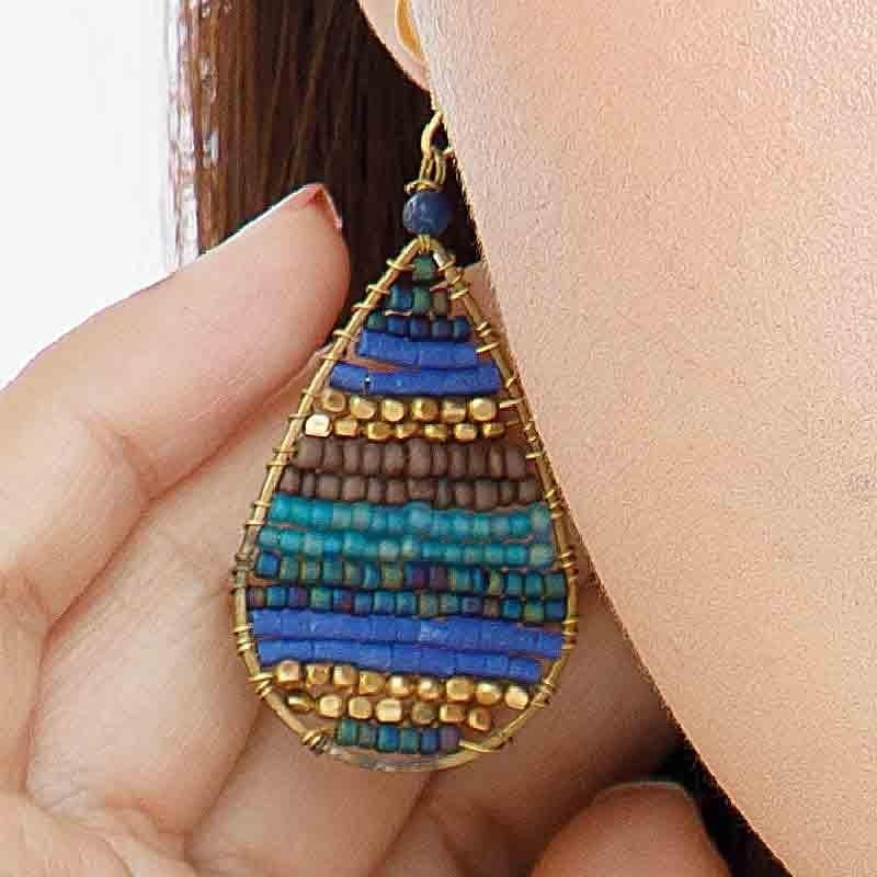 Lauren - Stone and Brass Beaded Teardrop Earrings - Marquet Fair Trade