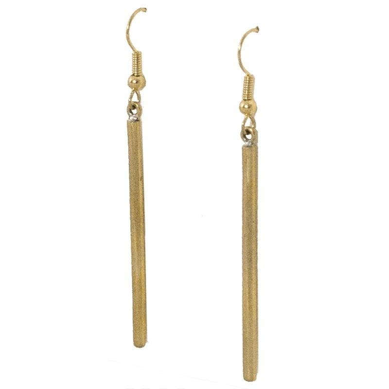 Lek - Cylindrical Brass Earrings - Marquet Fair Trade