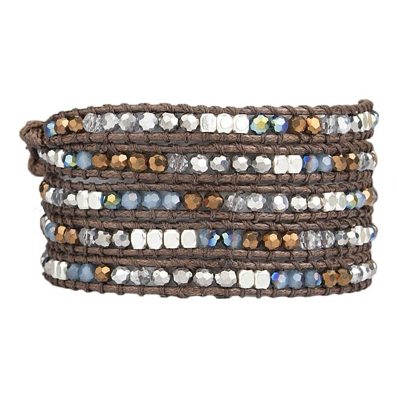 Load image into Gallery viewer, Miri - Extra Long Crystal and Stone Wrap Bracelet - Marquet Fair Trade