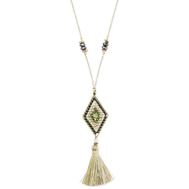 Load image into Gallery viewer, Nicole - Long Tassel Necklace with Beaded Pendant - Marquet Fair Trade