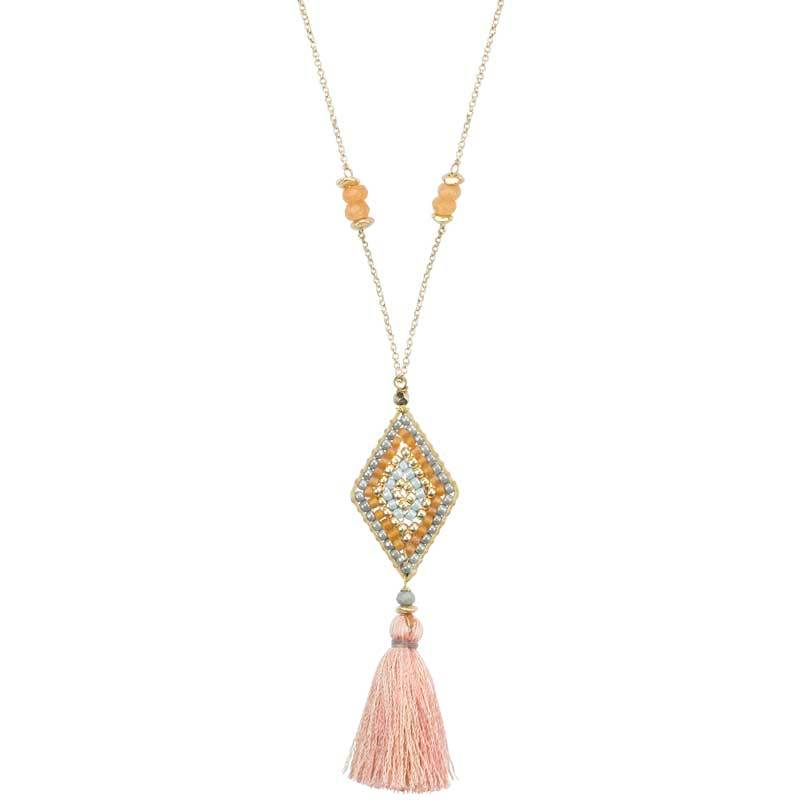 Nicole - Long Tassel Necklace with Beaded Pendant - Marquet Fair Trade