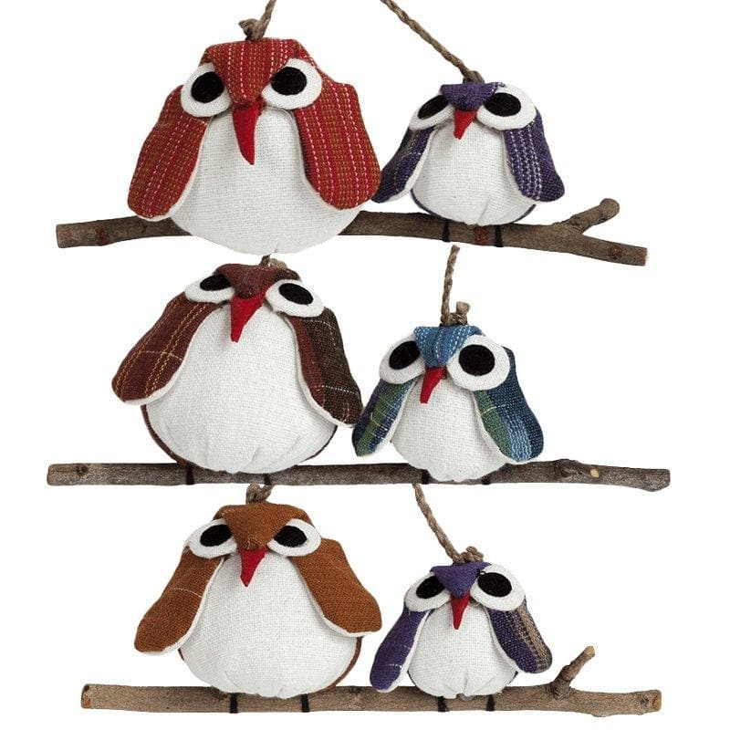 Owl Couple Ornaments - Contrasting Fabrics - Marquet Fair Trade