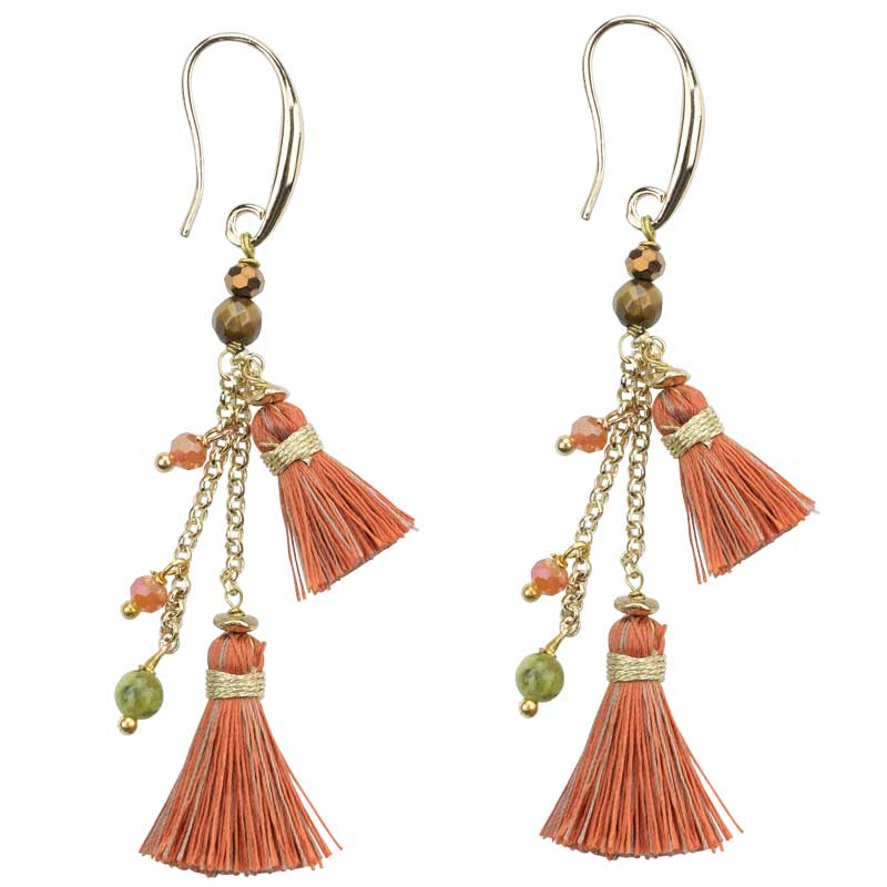 Rebecca - Tassel Earrings with Beads - Marquet Fair Trade