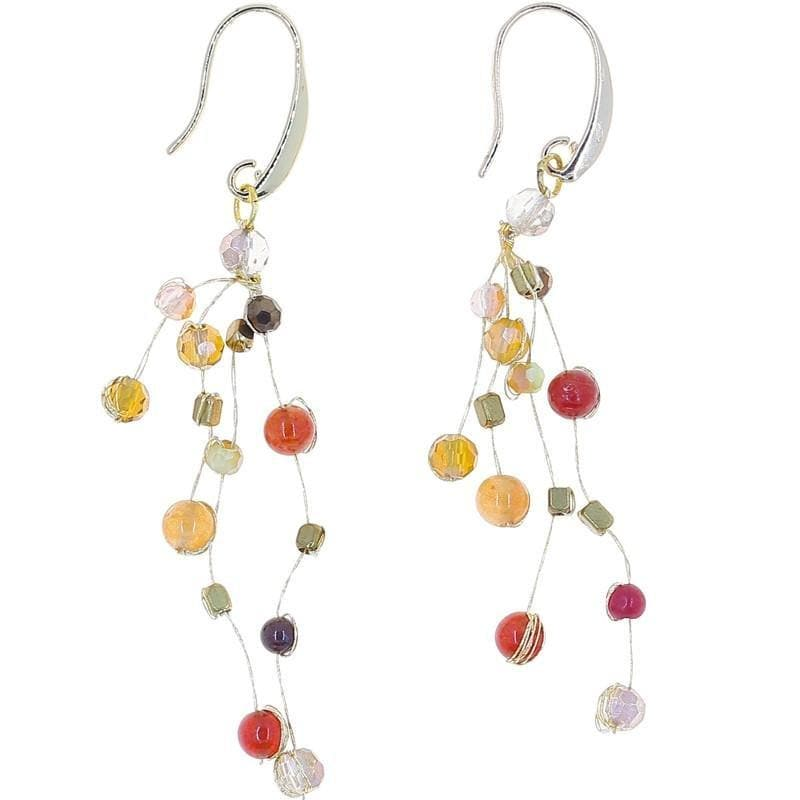 Reena - Stone and Silk Floating Earrings - Marquet Fair Trade