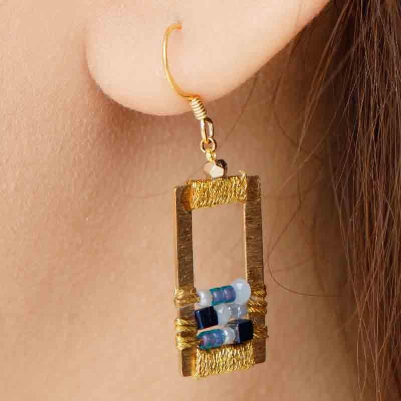 Rose - Draped Geometric Earrings - Marquet Fair Trade