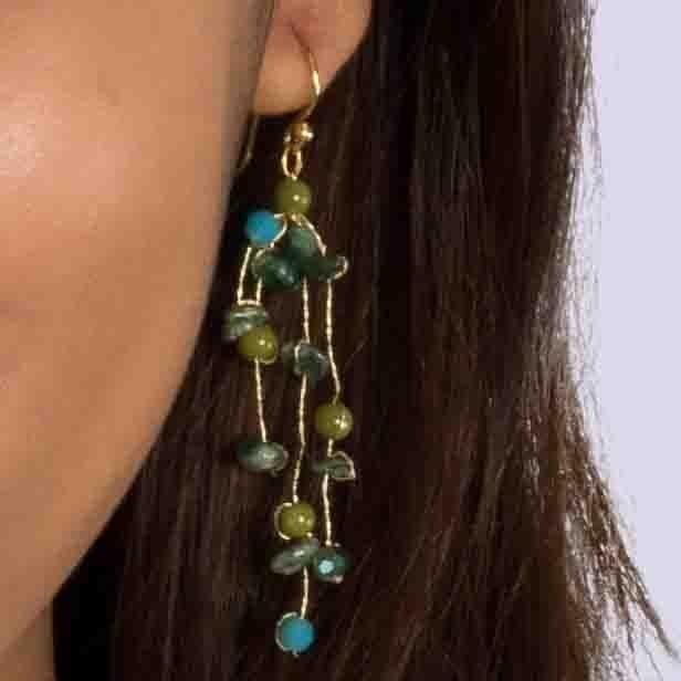 Sarah - Tumbled Stone and Silk Floating Earrings - Marquet Fair Trade