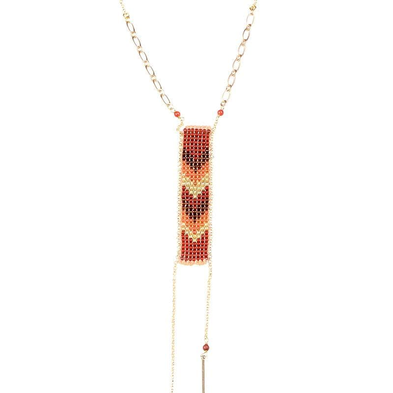 Saskia - Long, Colorful Chevron Necklace - Marquet Fair Trade