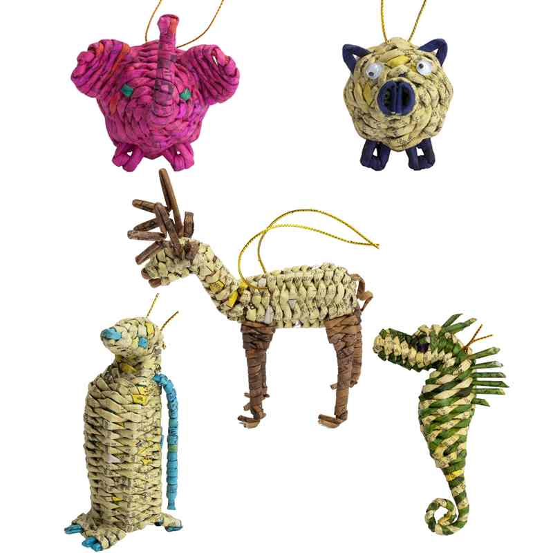 Upcycled Animals Ornament Set - Marquet Fair Trade