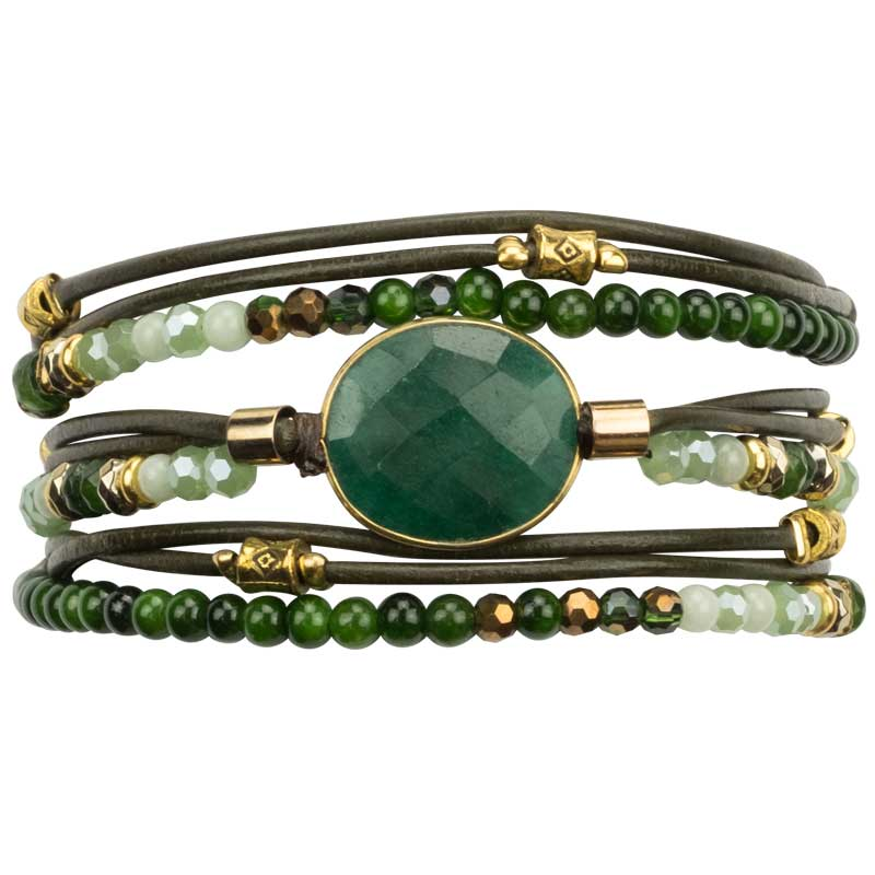 Load image into Gallery viewer, Vivian - Leather and Stone Multistrand Wrap Bracelets - Marquet Fair Trade