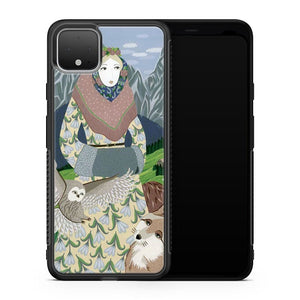 Lady With An Owl And A Dog Google Pixel 4 Case Cover