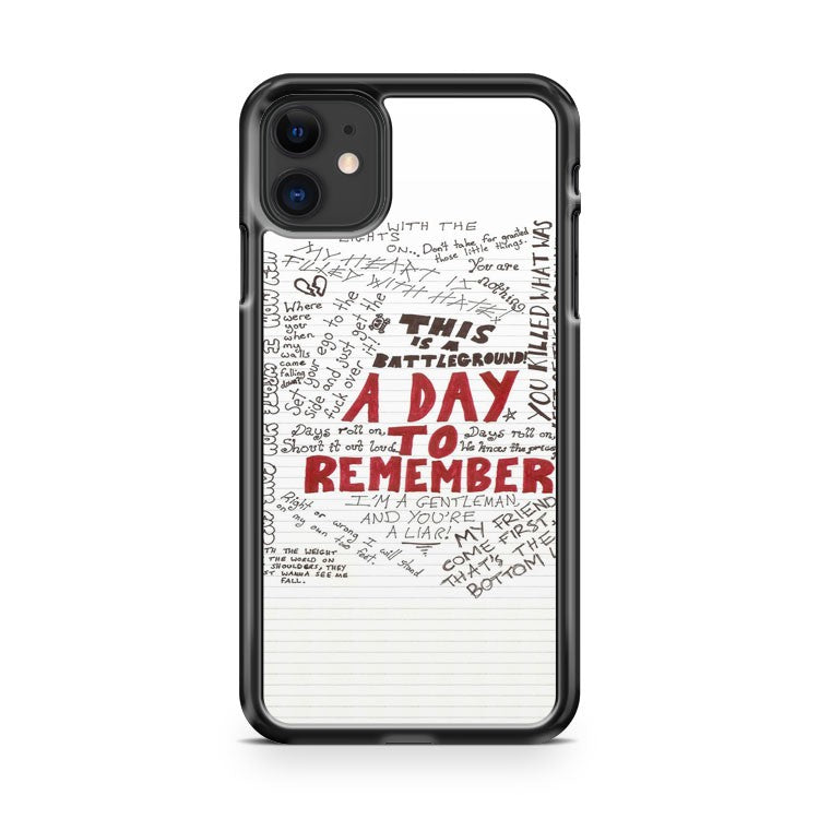 A Day To Remember Art Lyrycs iPhone 11 Case Cover | Overkill Inc.