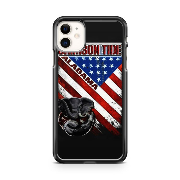 Alabama Crimson Tide Houndstooth American Flag iPhone 11 Case Cover | Overkill Inc.