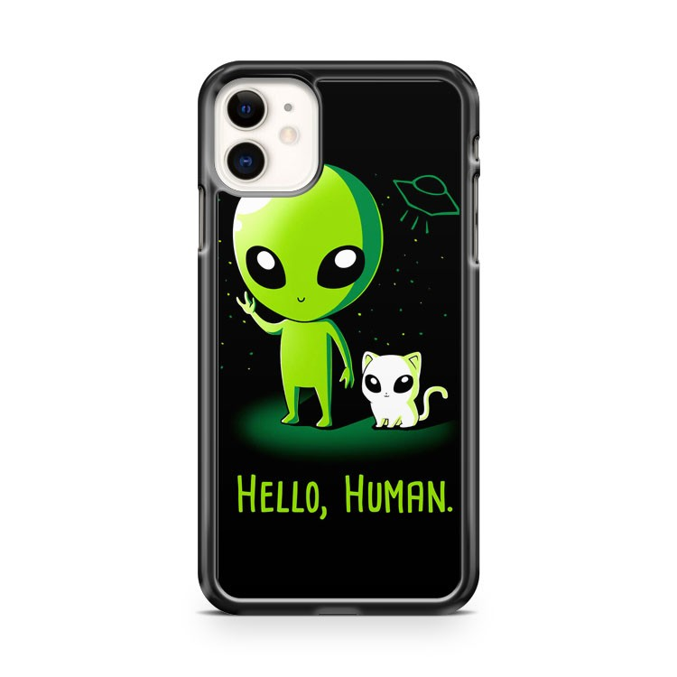 Cute Alien Hello Human iPhone 11 Case Cover | Overkill Inc.