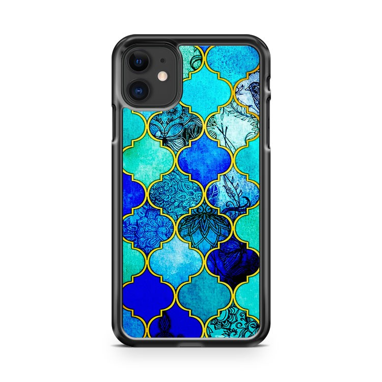 Cobalt Blue Aqua Gold Decorative iPhone 11 Case Cover | Overkill Inc.
