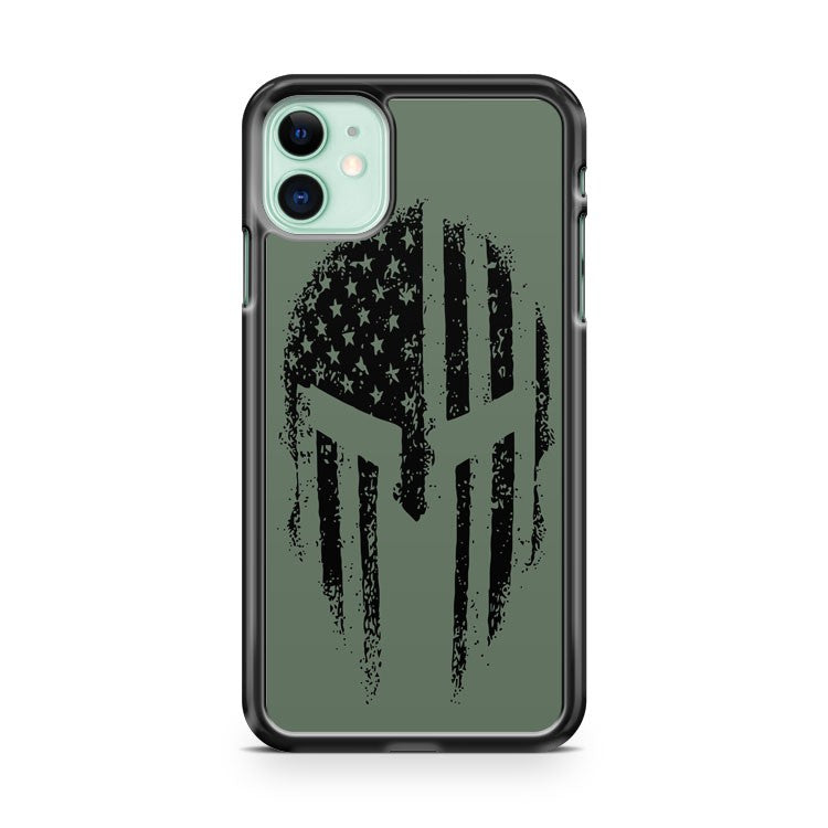 American Spartan Warrior Usa Flag Military Veteran Patriotic iPhone 11 Case Cover | Overkill Inc.