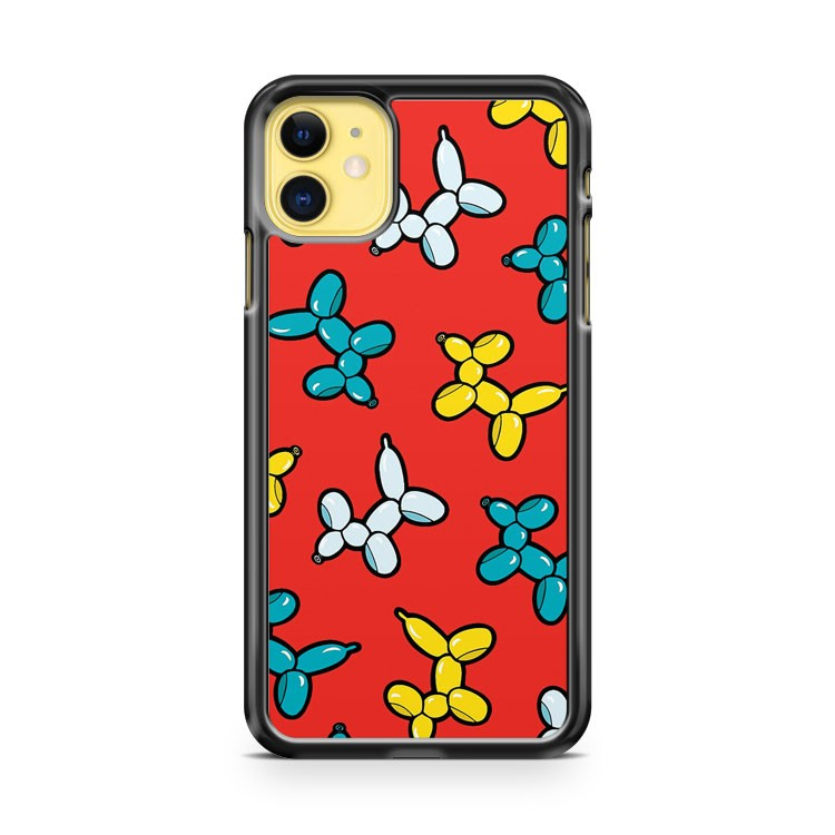 Balloon Animal Dogs Pattern In Red iPhone 11 Case Cover | Overkill Inc.
