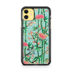 Bamboo Birds And Blossom Soft Blue Green iPhone 11 Case Cover | Overkill Inc.