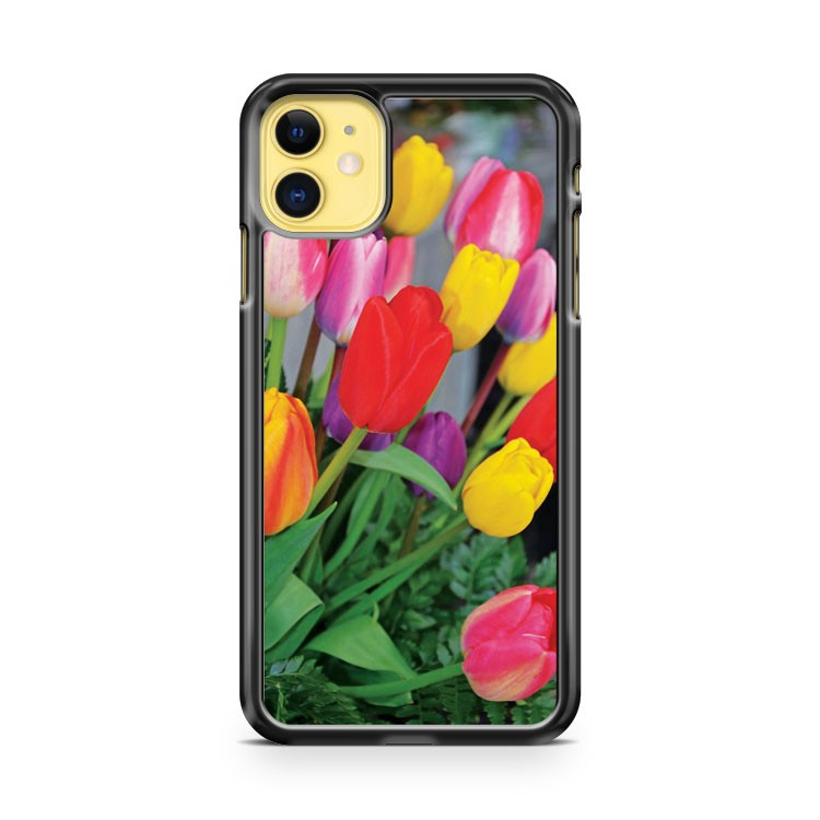 Colorful Tulip Floral Arrangement iPhone 11 Case Cover | Overkill Inc.