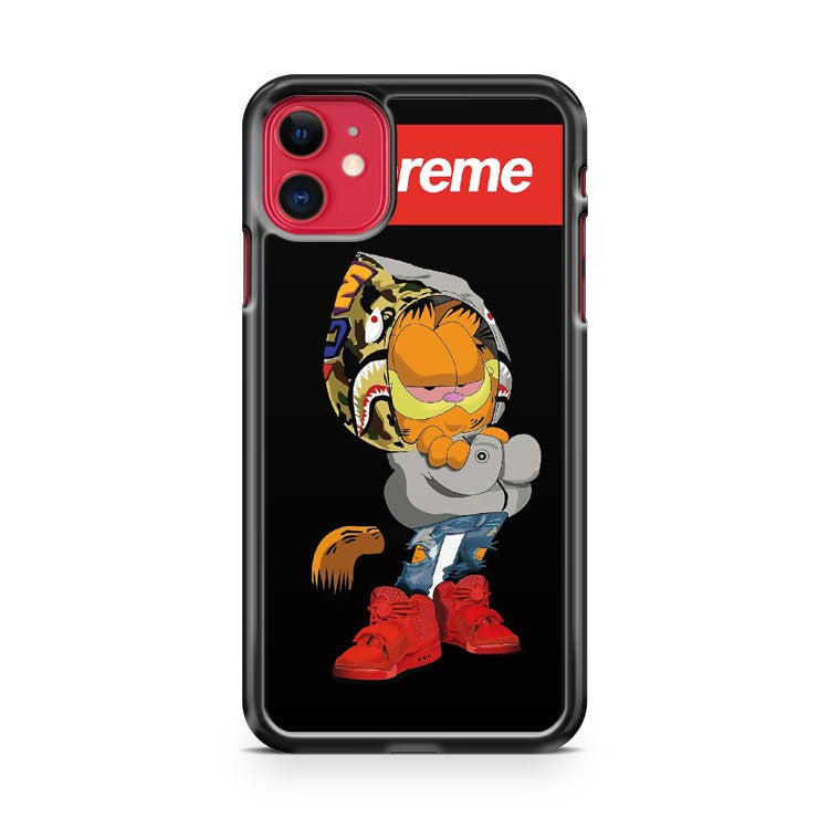 Garfield X Supreme X Bape iPhone 11 Case Cover