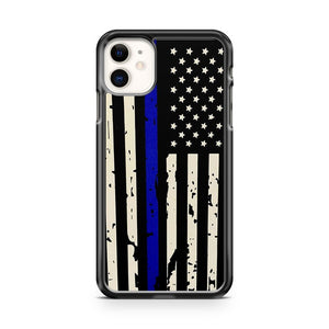 American Flag Police Blue Thin Line Usa Distressed iPhone 11 Case Cover | Overkill Inc.