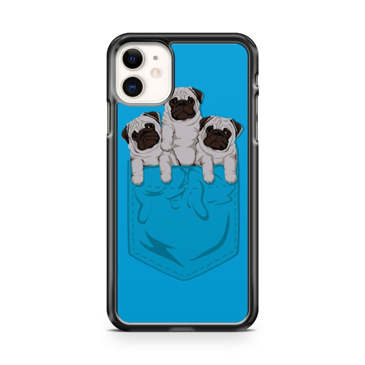 Cute Baby Pug In Blue Pocket iPhone 11 Case Cover | Overkill Inc.