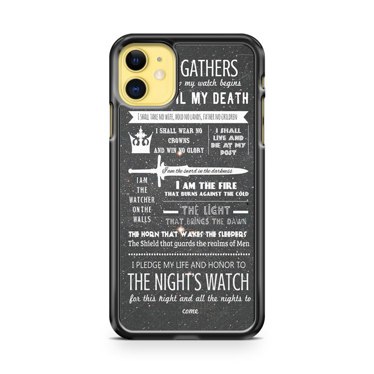 Game Of Thrones Nights Watch Oath 2 iPhone 11 Case Cover