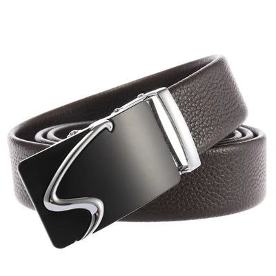 Men's Casual Automatic Buckle Genuine Belt with Stripe Buckle 04