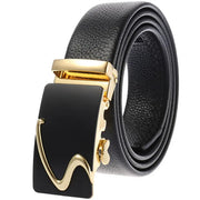 Men's Casual Automatic Buckle Genuine Belt with Stripe Buckle 09