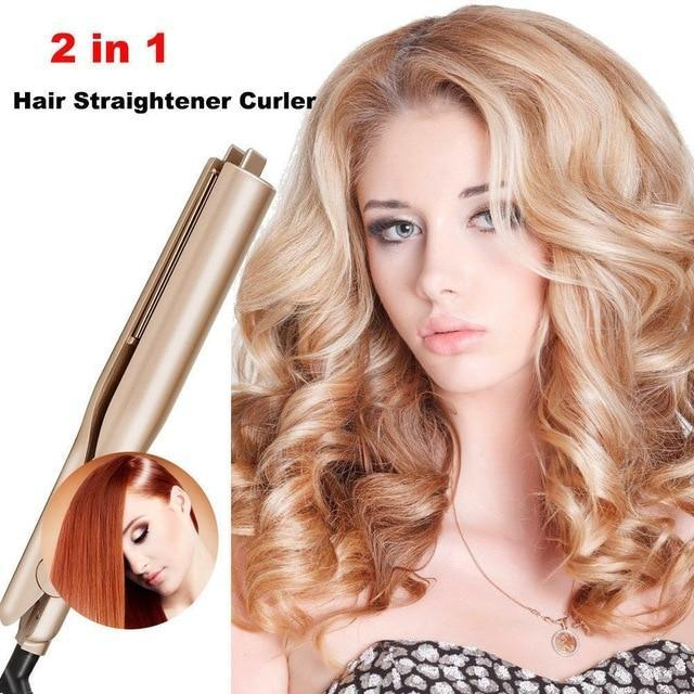 Hair Straightener and Curler 2 in 1 Ceramic Curling Flat Iron - glamodi