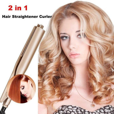 Hair Straightener and Curler 2 in 1 Ceramic Curling Flat Iron - hoglam2020
