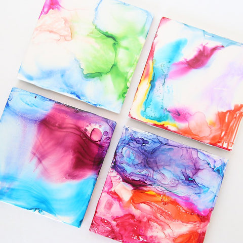 kids art project rubbing alcohol marble colors