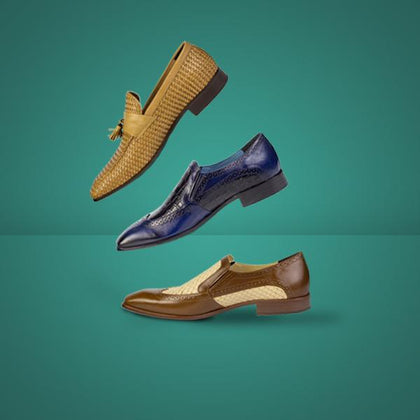 Range of slip on men's shoes to be bought online. These include loafers, moccasins and tassel shoes.